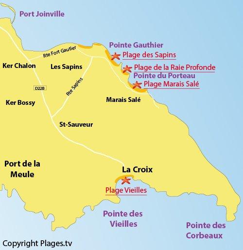 Carte de la plage des Vieilles sur l'ile d'Yeu