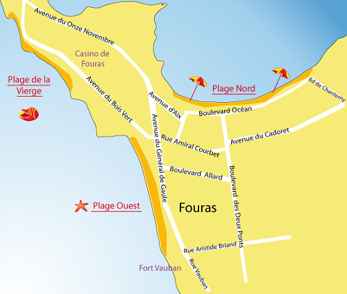 Map of Virgin Beach - Green Wood Beach - Fouras