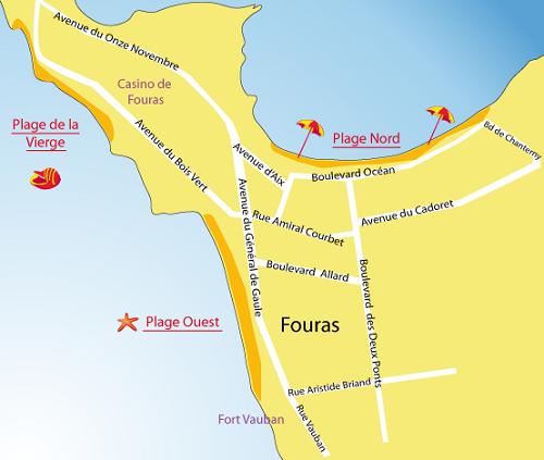 Mappa della Spiaggia della Vergine o del Bois Vert a Fouras