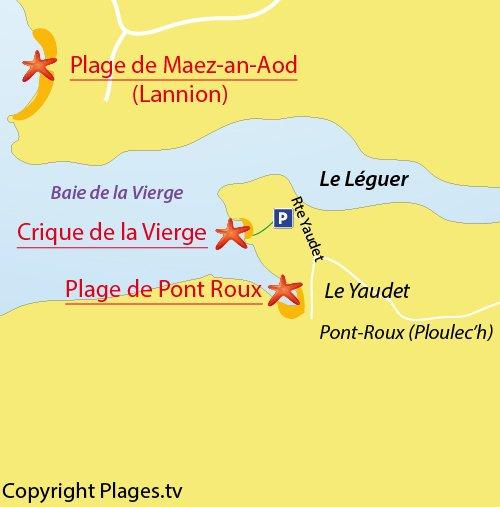 Carte de la plage de la Vierge - Le Yaudet