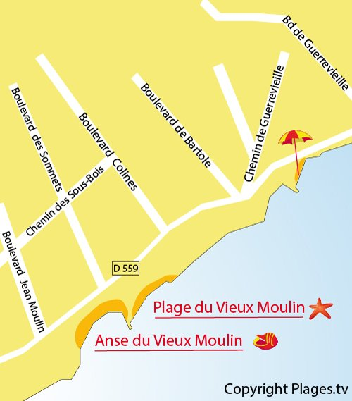 Map of Vieux Moulin Beach in Port Grimaud