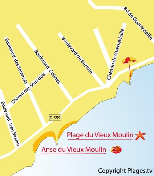 Carte de la plage du Vieux Moulin à Grimaud
