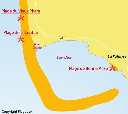 Carte de la plage du Vieux Phare à La Tremblade
