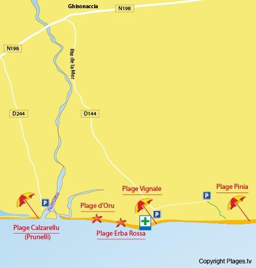 Plan de la plage de la Vignale à Ghisonaccia en Corse