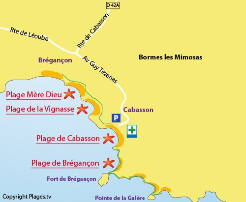 Map of the Vignasse Beach in Bormes les Mimosas