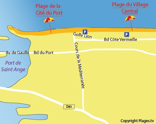 Carte de la plage du Village Central de Port Barcarès