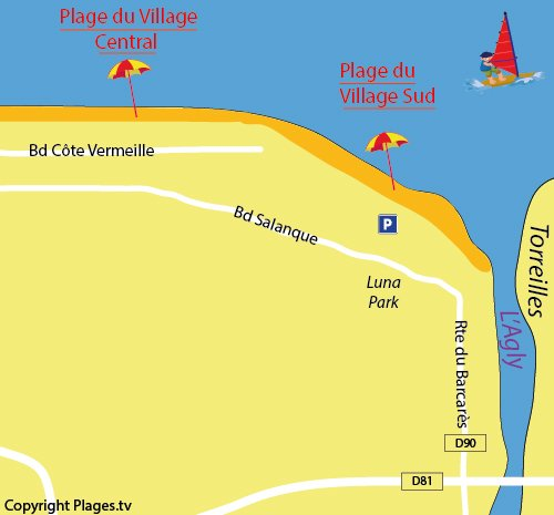 Map of Village Sud Beach in Port Barcarès
