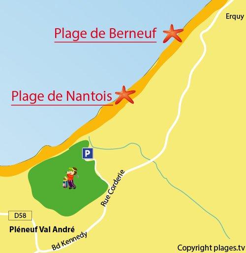 Plan de la plage de Ville Perneuf en Bretagne