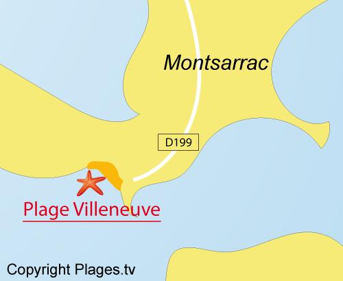 Carte de la plage du Villeneuve à Séné