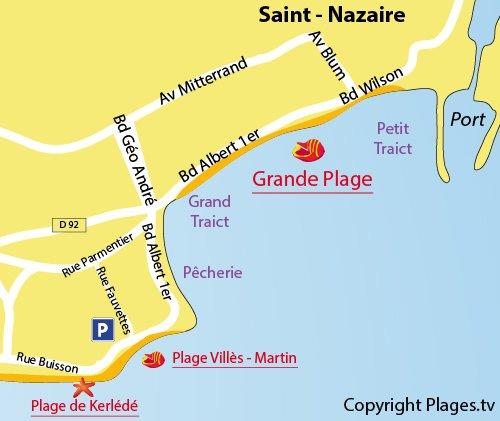 Map of Villès-Martin Beach in St Nazaire