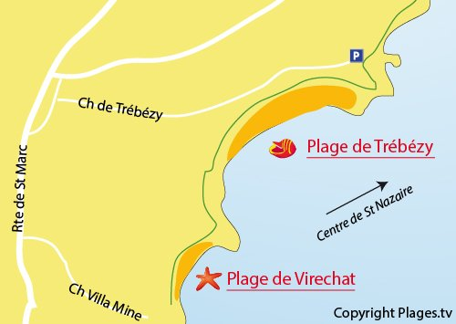 Map of Virechat Beach in St Nazaire