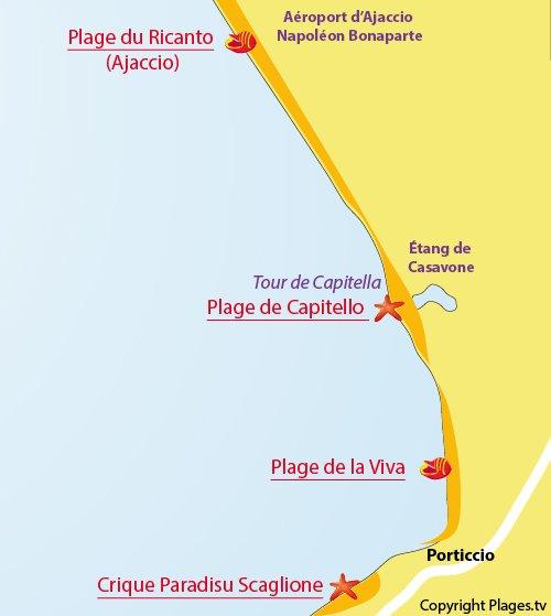 Carte de la plage de la Viva à Porticcio