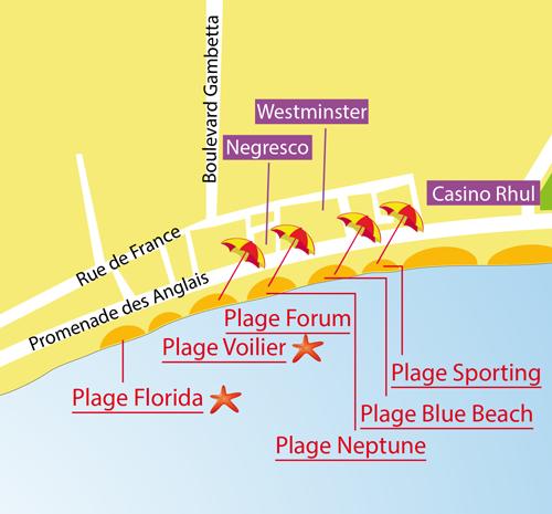 Carte de la plage du Voilier à Nice