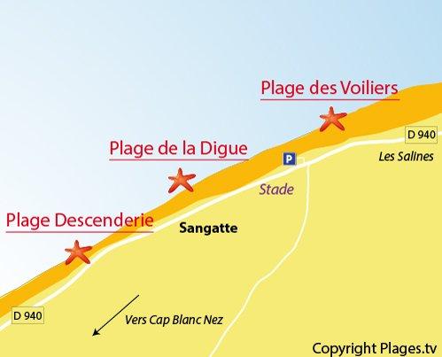 Carte de la plage des Voiliers de Sangatte
