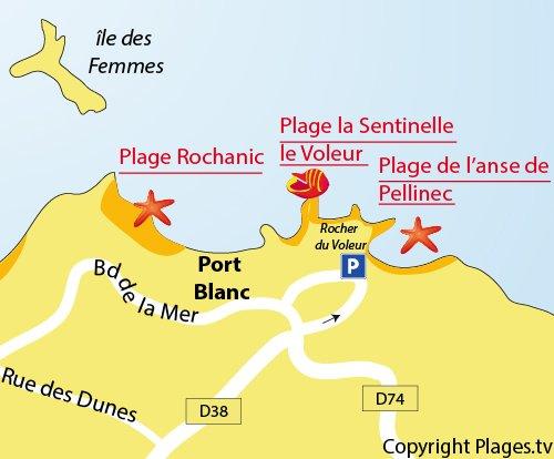 Plan des plages à côté du rocher du Voleur et de la Sentinelle à Port Blanc