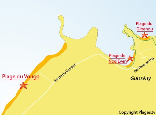 Carte de la plage du Vougout à Guissény