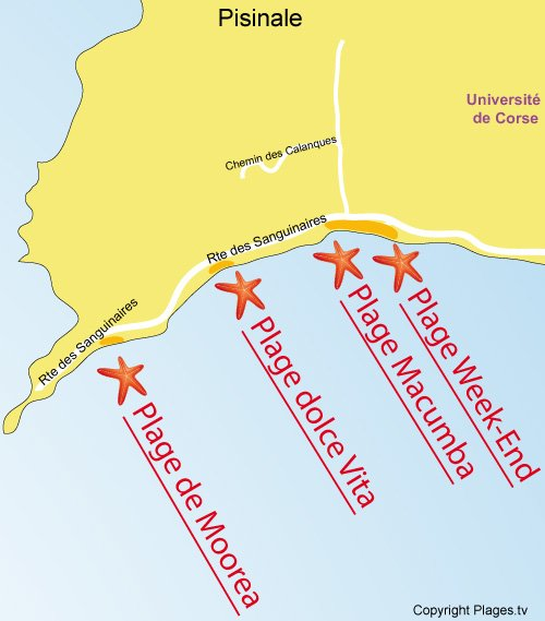 Carte de la plage Week-End à Ajaccio