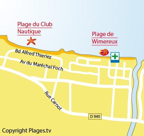 Carte de la plage de Wimereux