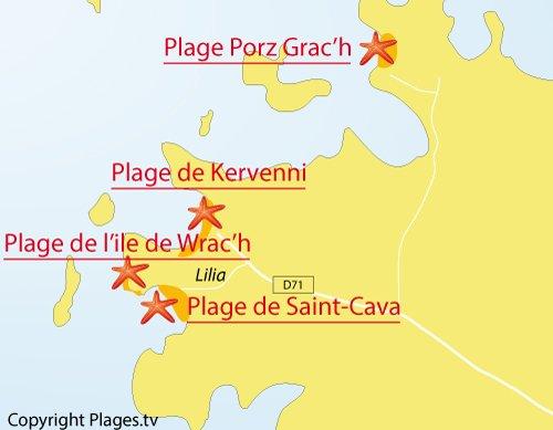 Carte de la plage de Wrac'h à Plouguerneau