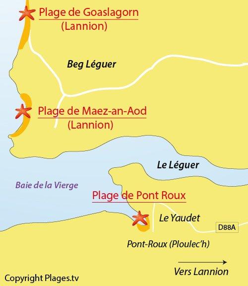 Carte de la plage du Yaudet en Bretagne (22)