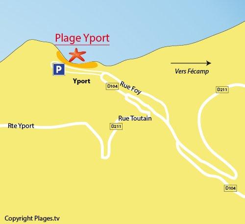 Carte de la plage du centre à Yport