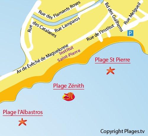 Carte de la plage du Zenith à Palavas les Flots