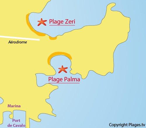 Map of Zeri Beach - Lavezzi