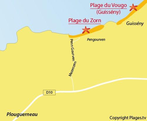 Carte de la plage du Zorn à Plouguerneau