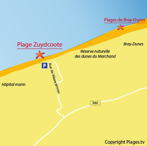 Map of Zuydcoote Main beach