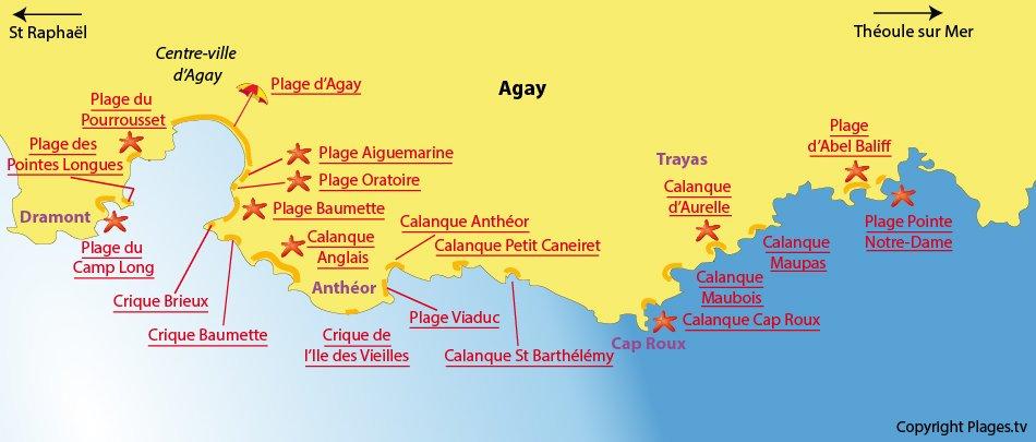 Plan des plages à Agay dans le Var
