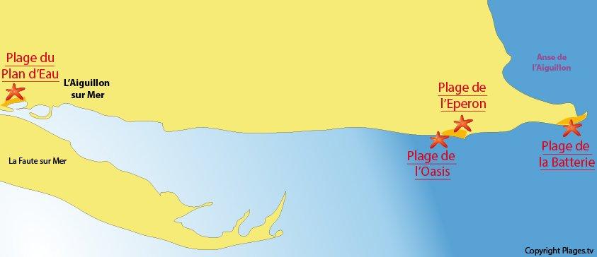 Carte des plages à l'Aiguillon sur Mer