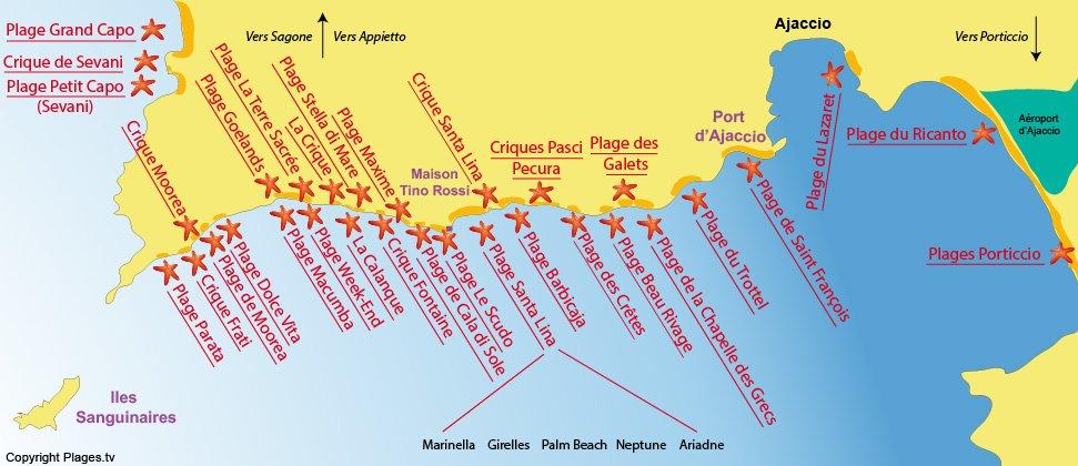 Plan des plages d'Ajaccio en Corse