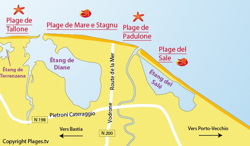 Carte des plages d'Aléria en Corse