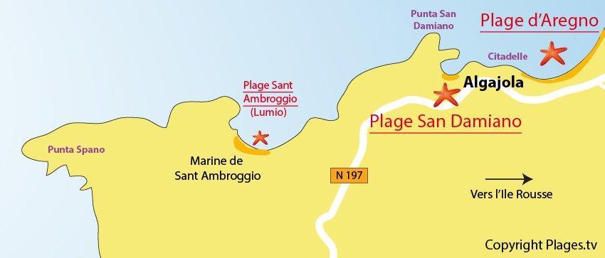 Carte des plage à Algajola en Corse entre Calvi et Ile Rousse