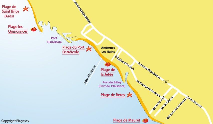 Plan des plages à Andernos les Bains