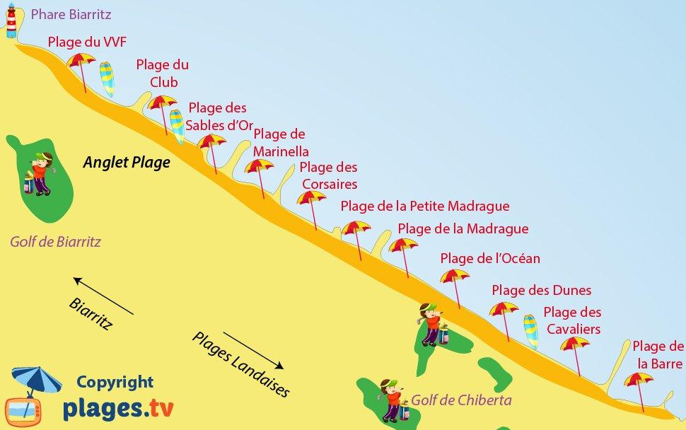 Carte des plages d'Anglet