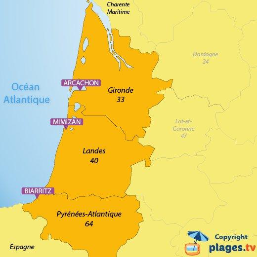 Carte des plages et des stations balnéaires en Aquitaine