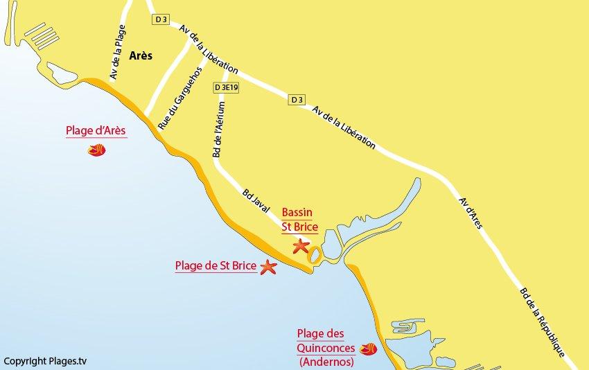 Plan des plages d'Arès