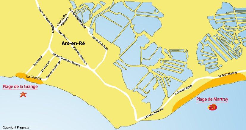 Plan des plages à Ars en Ré