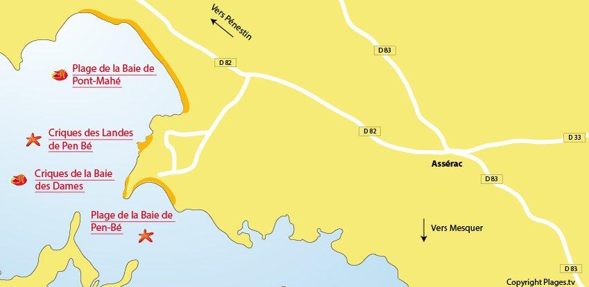 Carte des plages d'Assérac 44