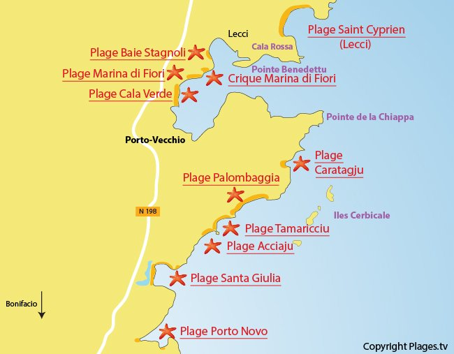 Map of the beaches around Porto-Vecchio in Corsica