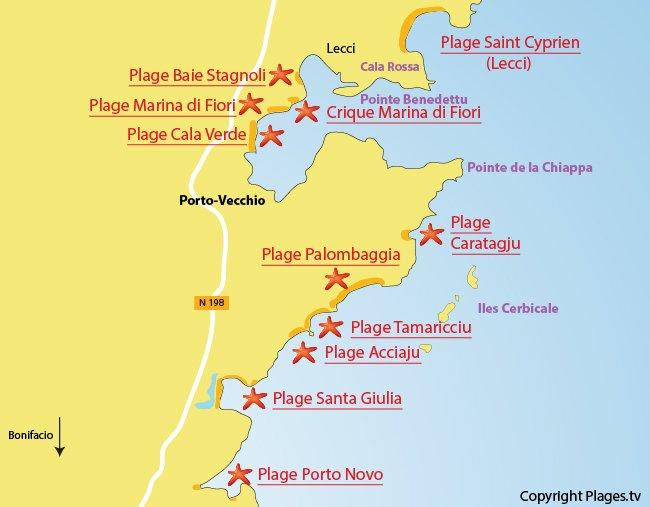 Plan des plages autour de Porto-Vecchio