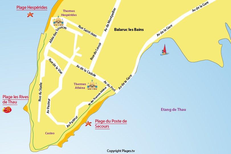 Carte des plages de Balaruc les Bains