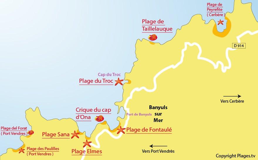 Carte des plages de Banyuls sur Mer - Pyrénées Orientales