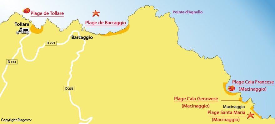 Carte des plages de Barcaggio et de Tollare dans le Cap Corse