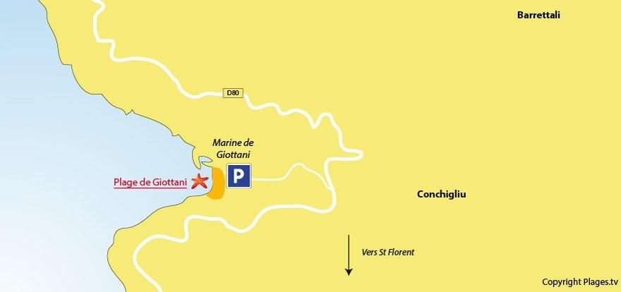 Plan des plages à Barrettali dans le Cap Corse