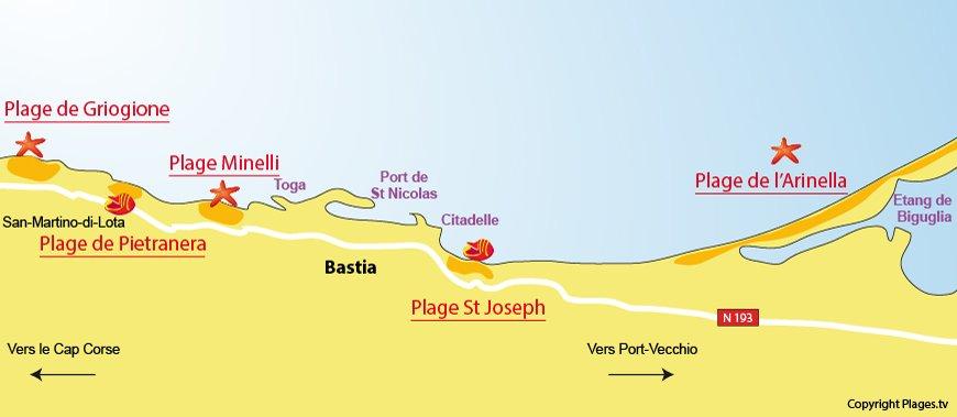 Carte des plages de Bastia