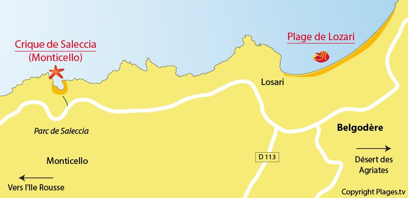 Carte des plages de Belgodère en Corse