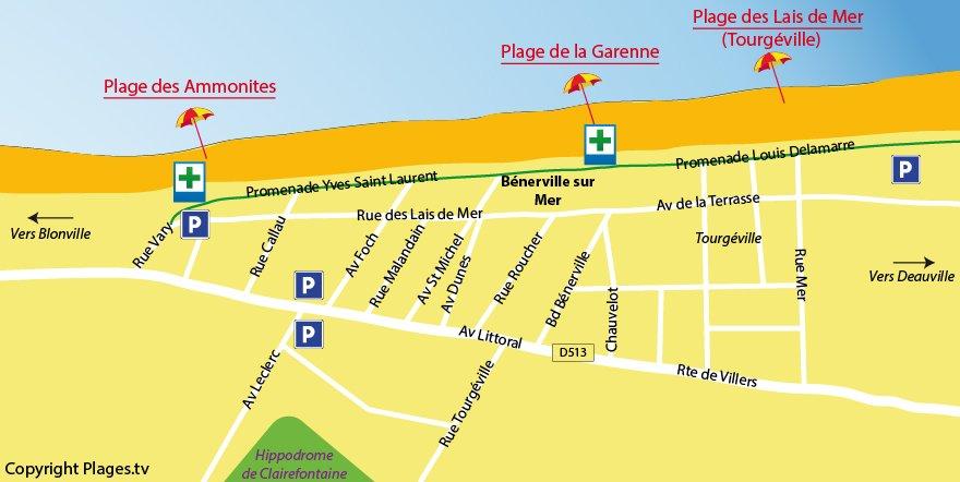 Plan des plages de Bénerville dans le Calvados à proximité de Deauville