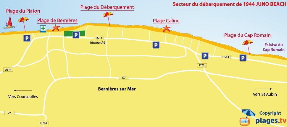 Carte des plages de Bernières sur Mer